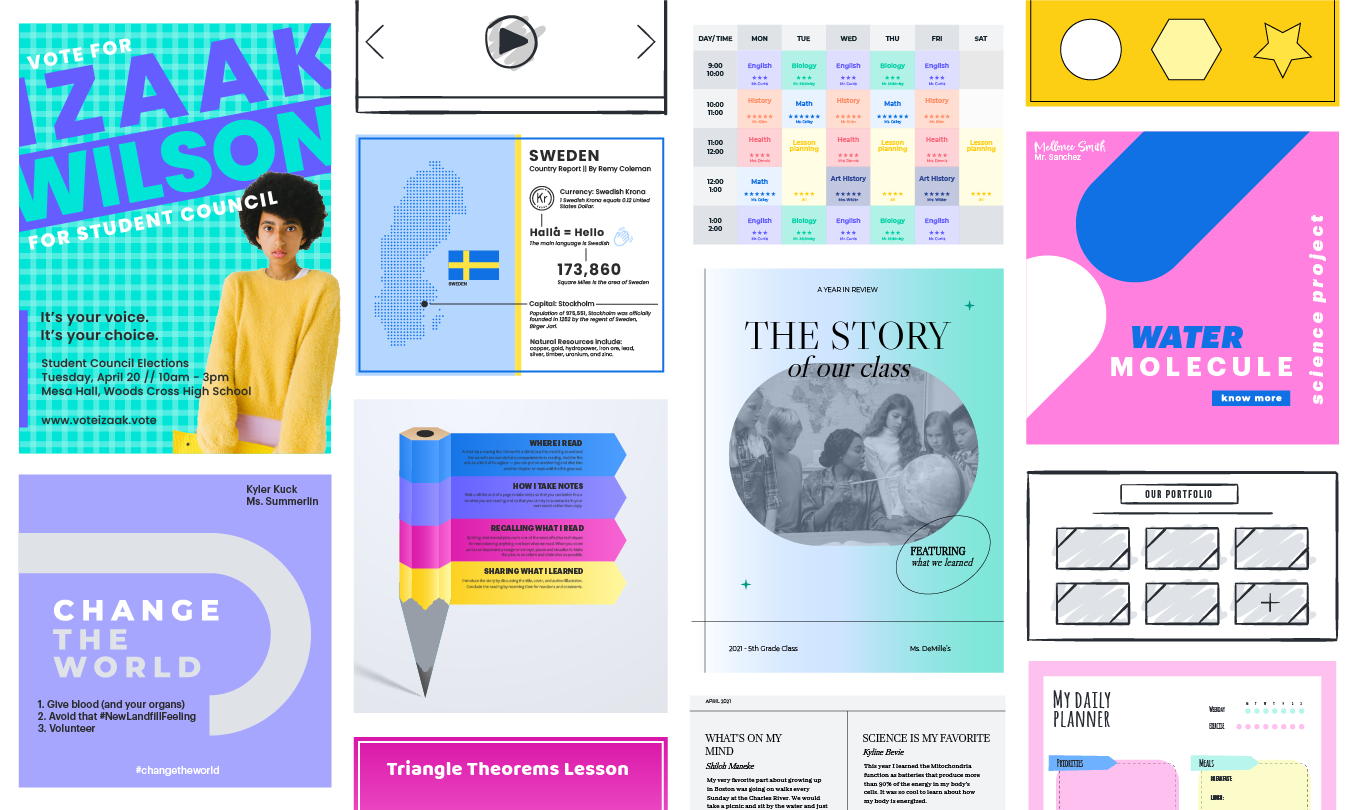 Design templates including a flier, brochure and poster