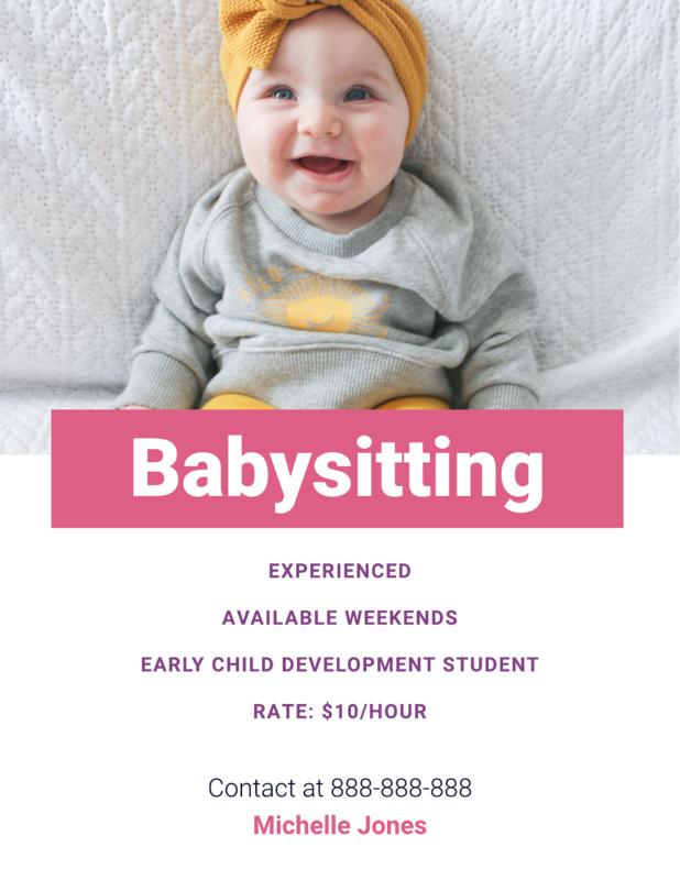 Babysitting flyer template