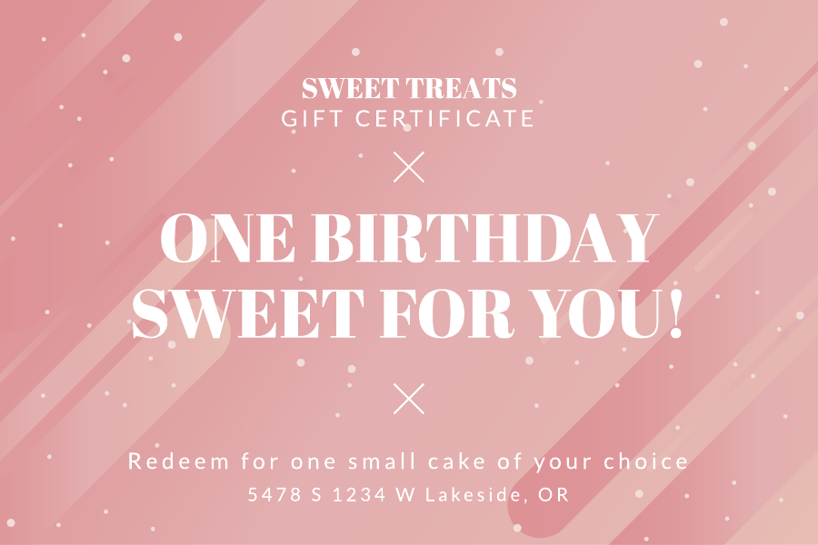 Bakery birthday gift certificate template