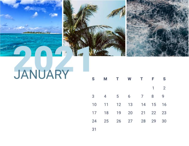 Beach calendar template
