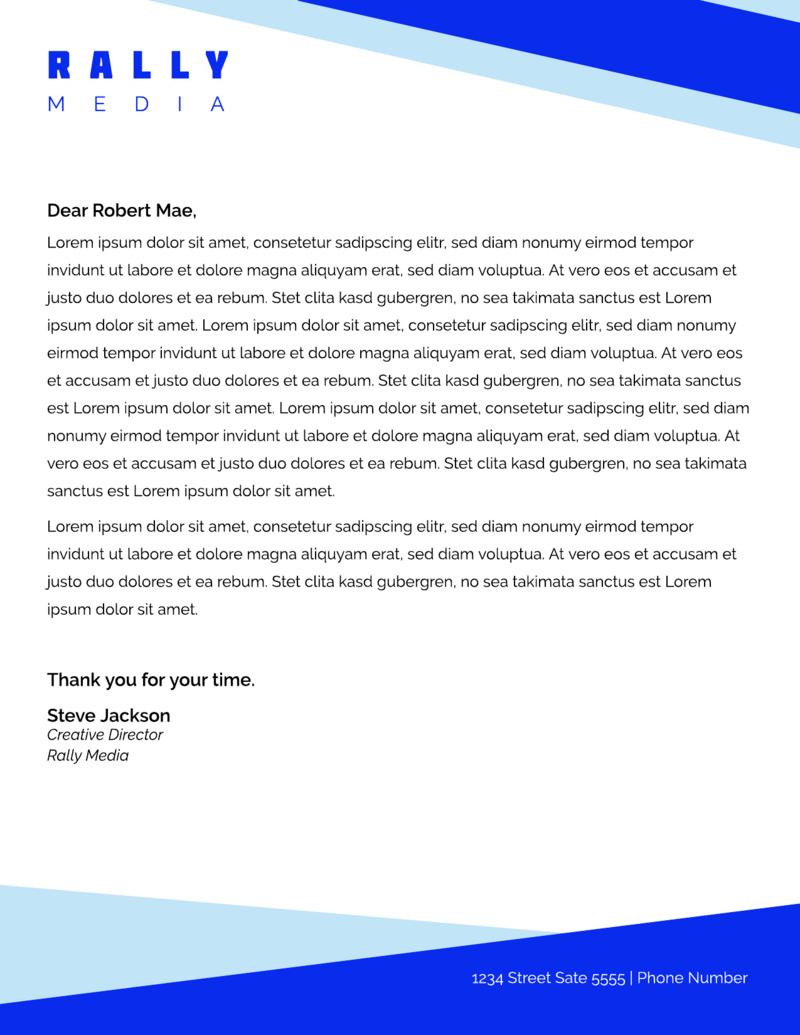 Bright blue letterhead template