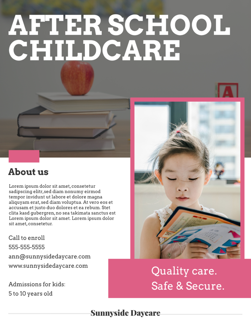 Childcare flyer template
