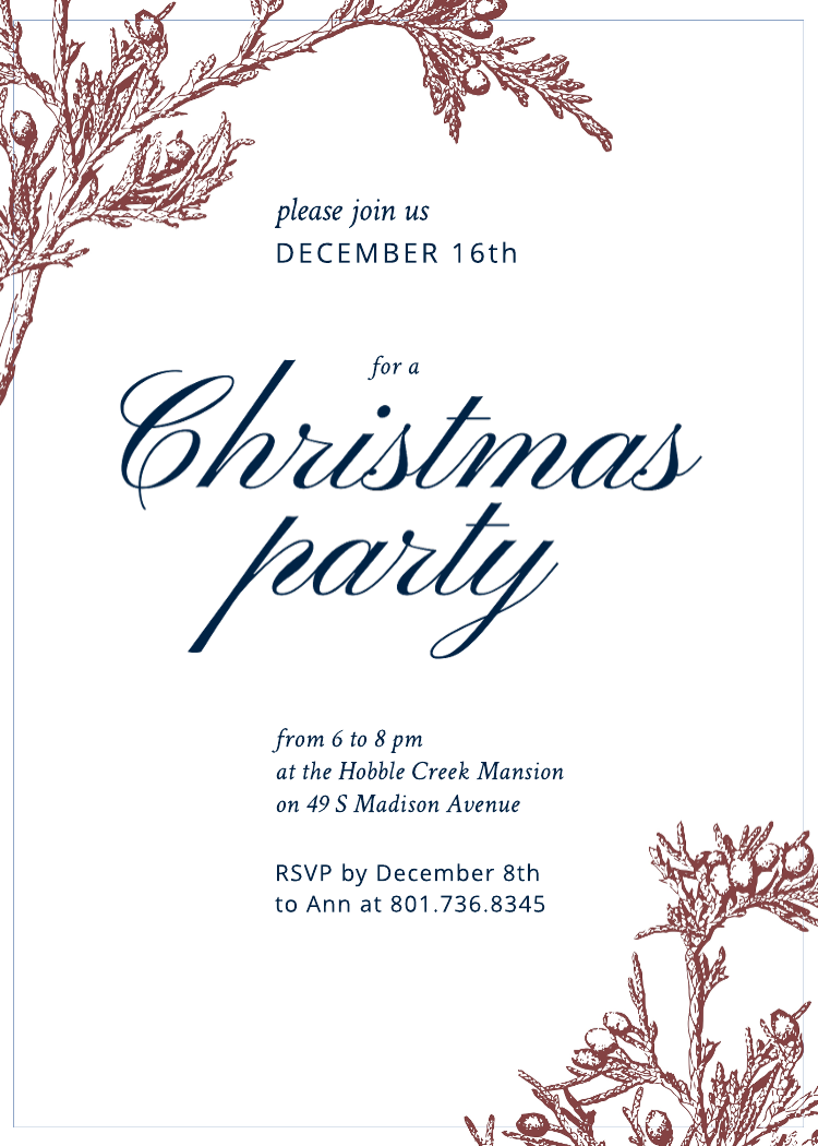 Business Christmas party invitation template