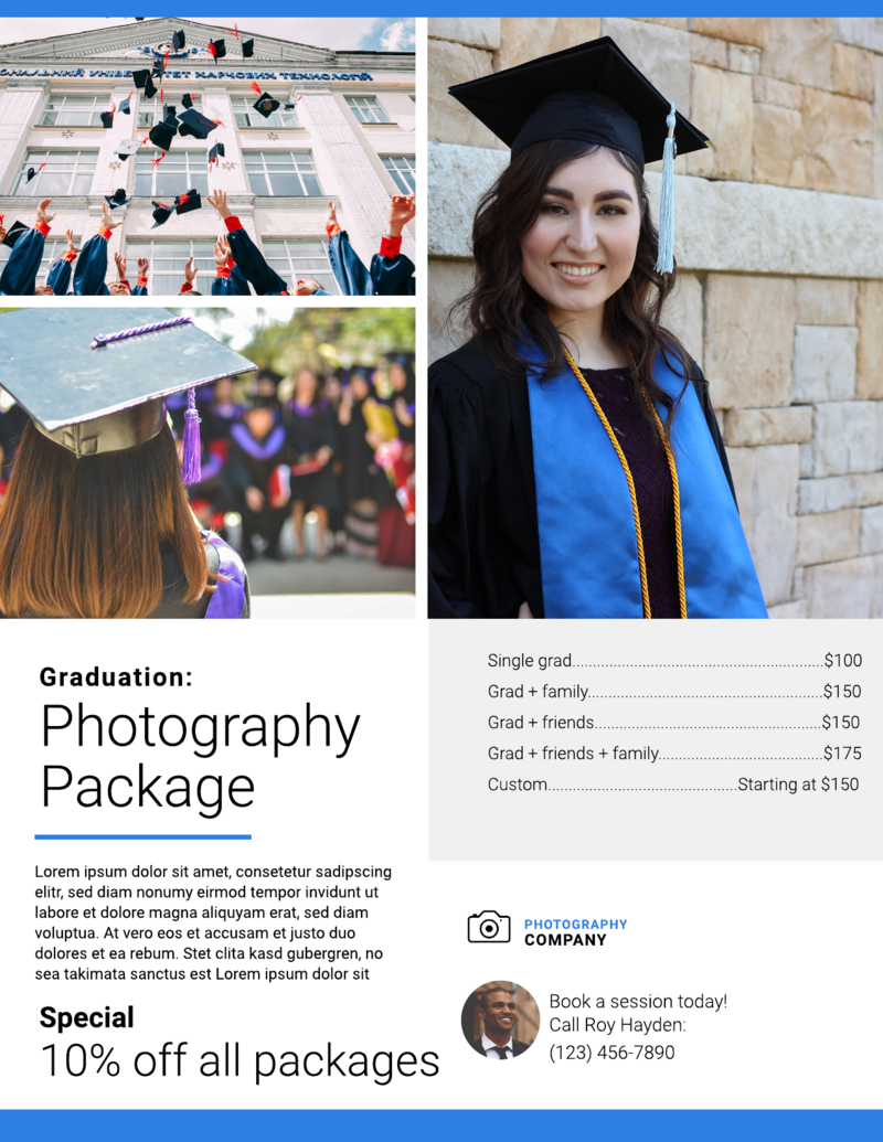 Graduation photography flyer template