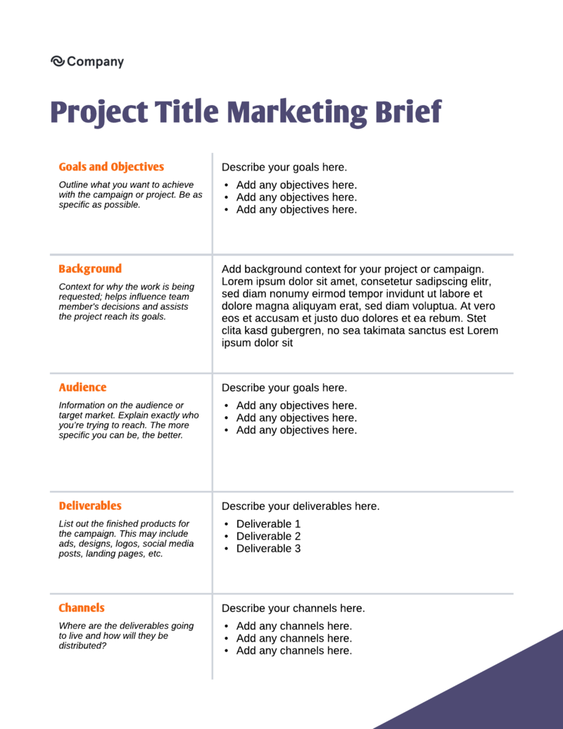 Marketing brief template