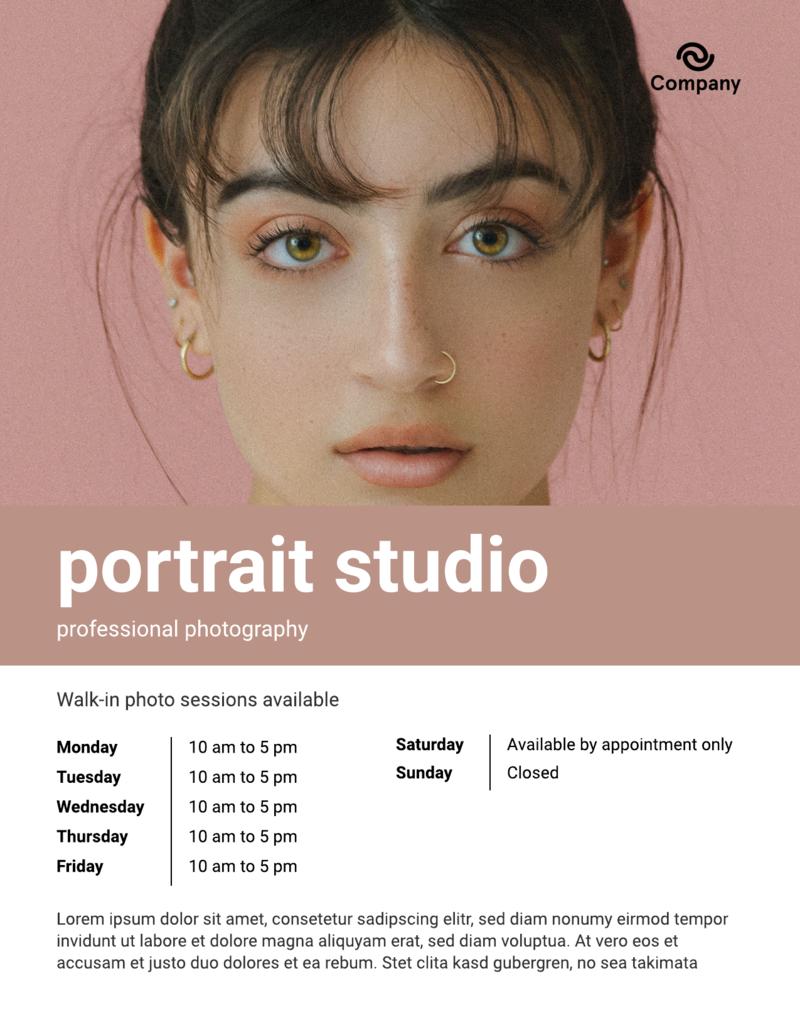 Portrait photography flyer template