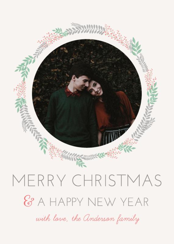 Wreath Christmas Card (5x7) Template