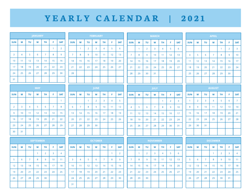 2021 yearly calendar template