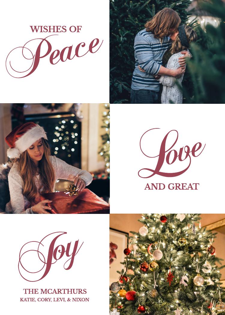 Peace, Love, Joy Holiday Card Template