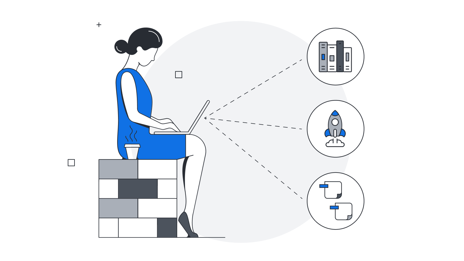 Illustration of a woman using a laptop to help organize her thoughts