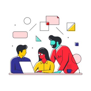 illustration of people working together
