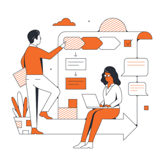 illustration of people working together