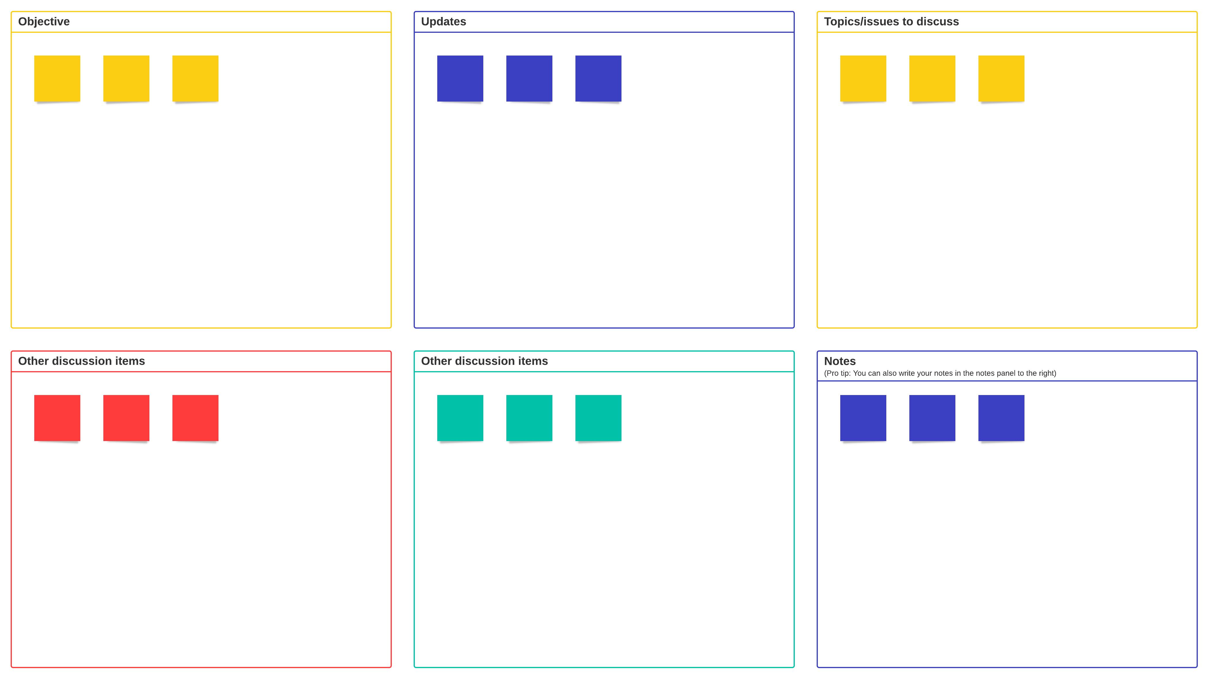 agenda de reunión de equipo