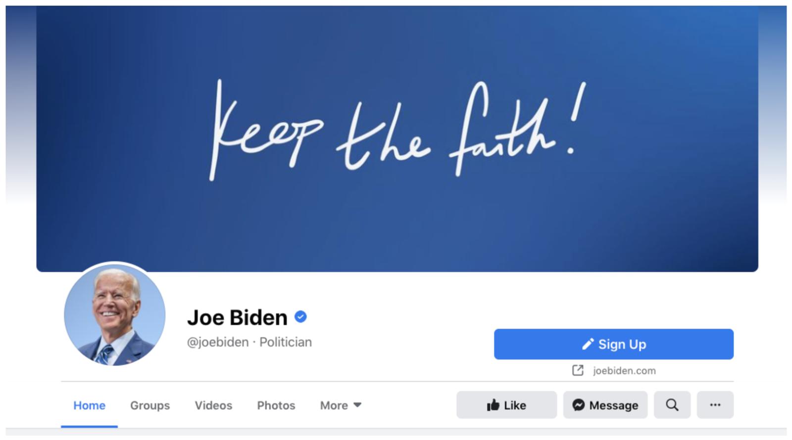 Joe Biden Facebook Cover Image Example