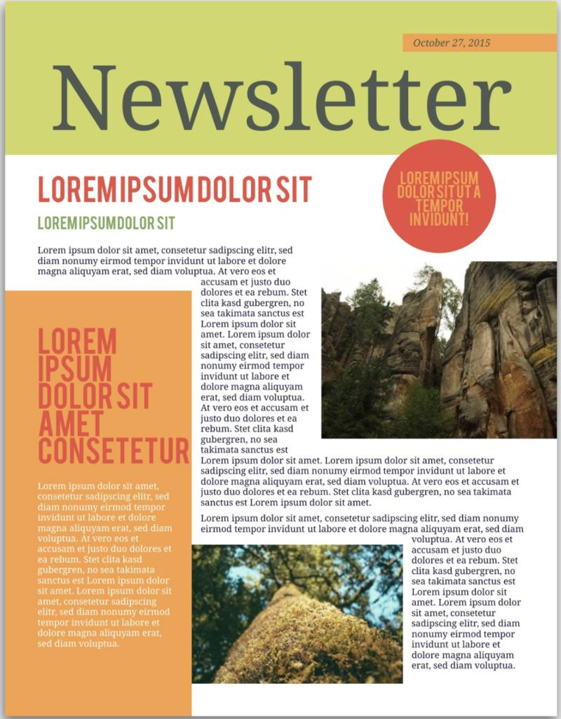 citrus newsletter template