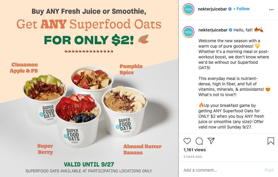 Nekter Juice Bar Instagram screenshot