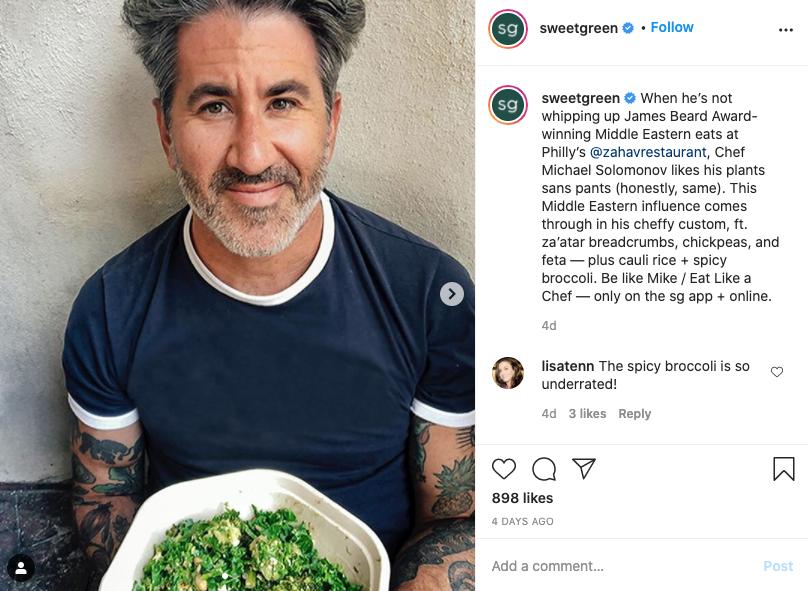 Sweetgreen Instagram post screenshot