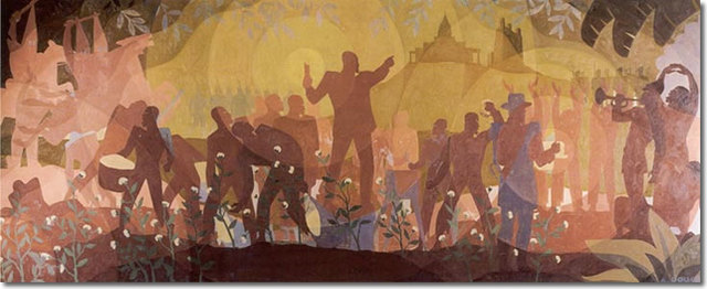 Aspects of Negro Life mural by Aaron Douglas
