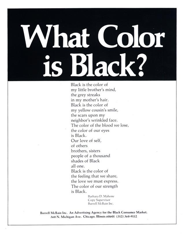 What Color is Black? poem advert by Emmett McBain