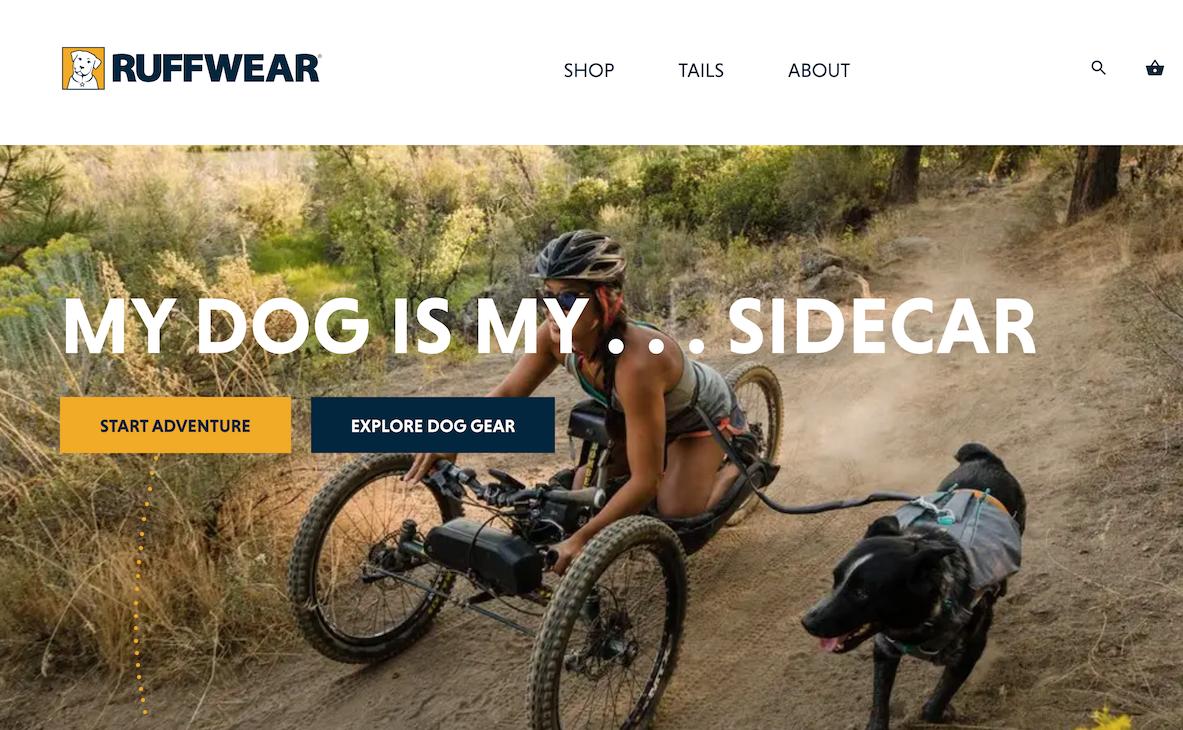 "Image of Ruffwear site with headline ""My dog is my ... sidecar"""
