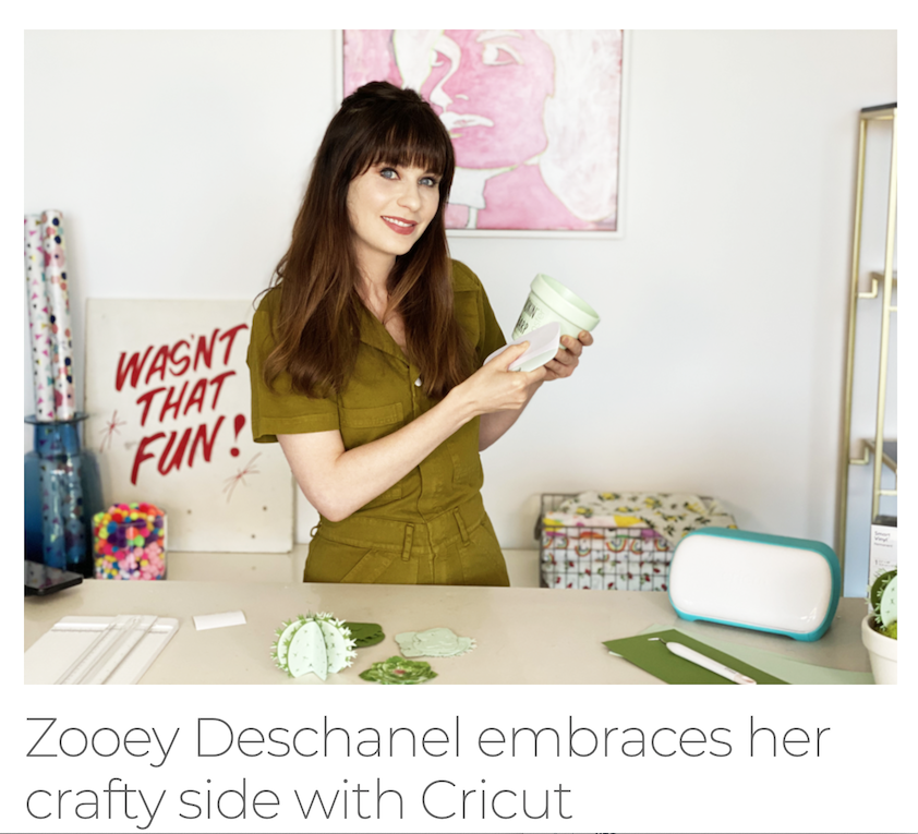 Image of Zooey Deschanel crafting with her Cricut
