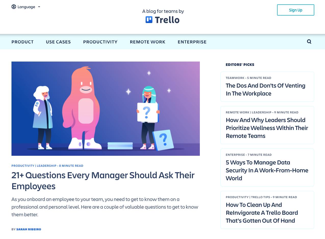 Screengrab of the Trello blog page