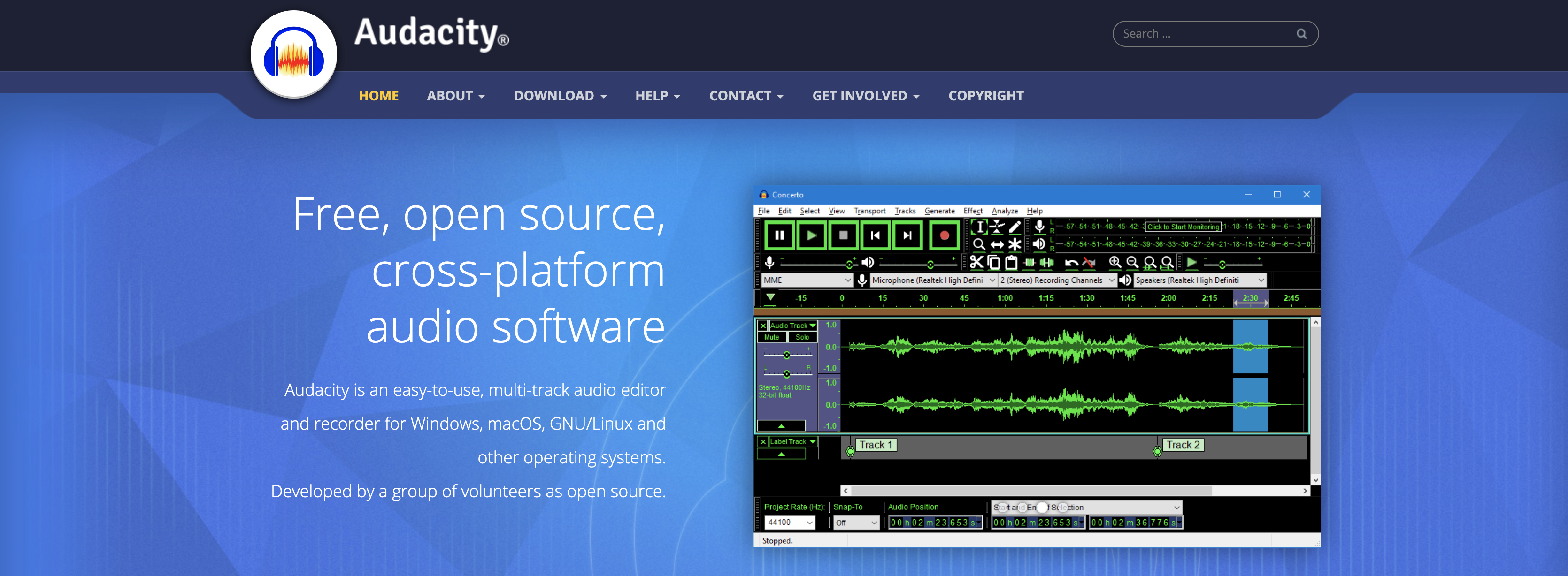 Audacity homepage screenshot
