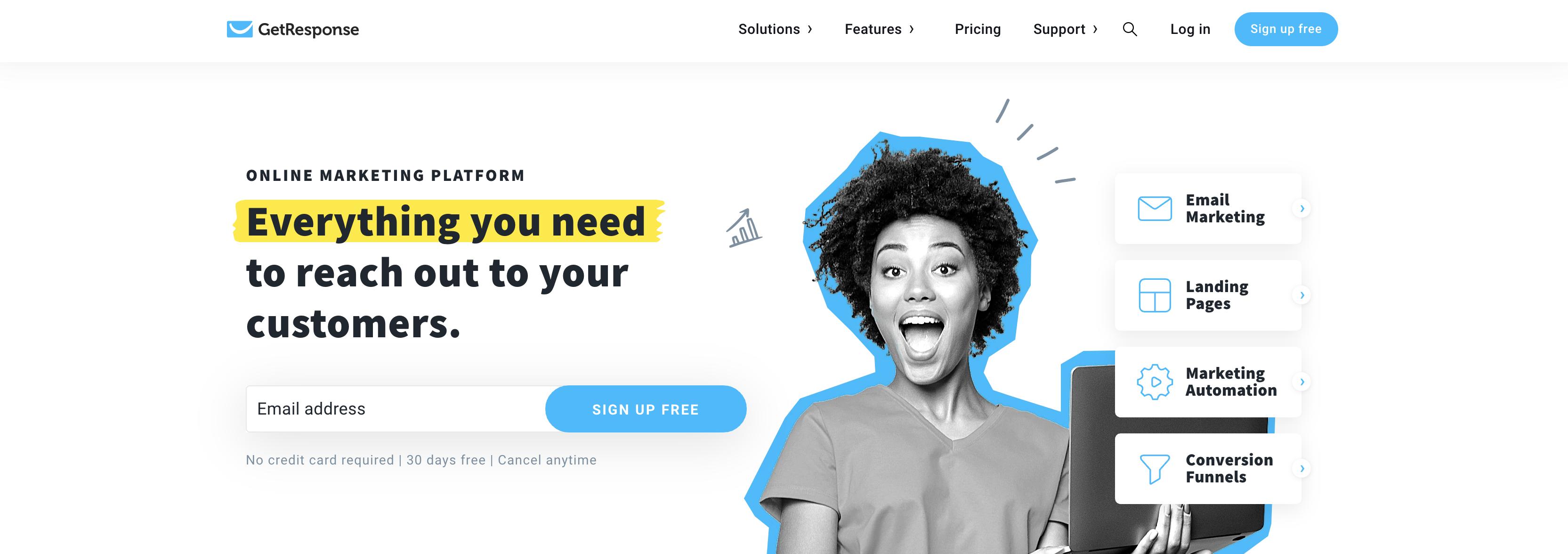 GetResponse homepage screenshot