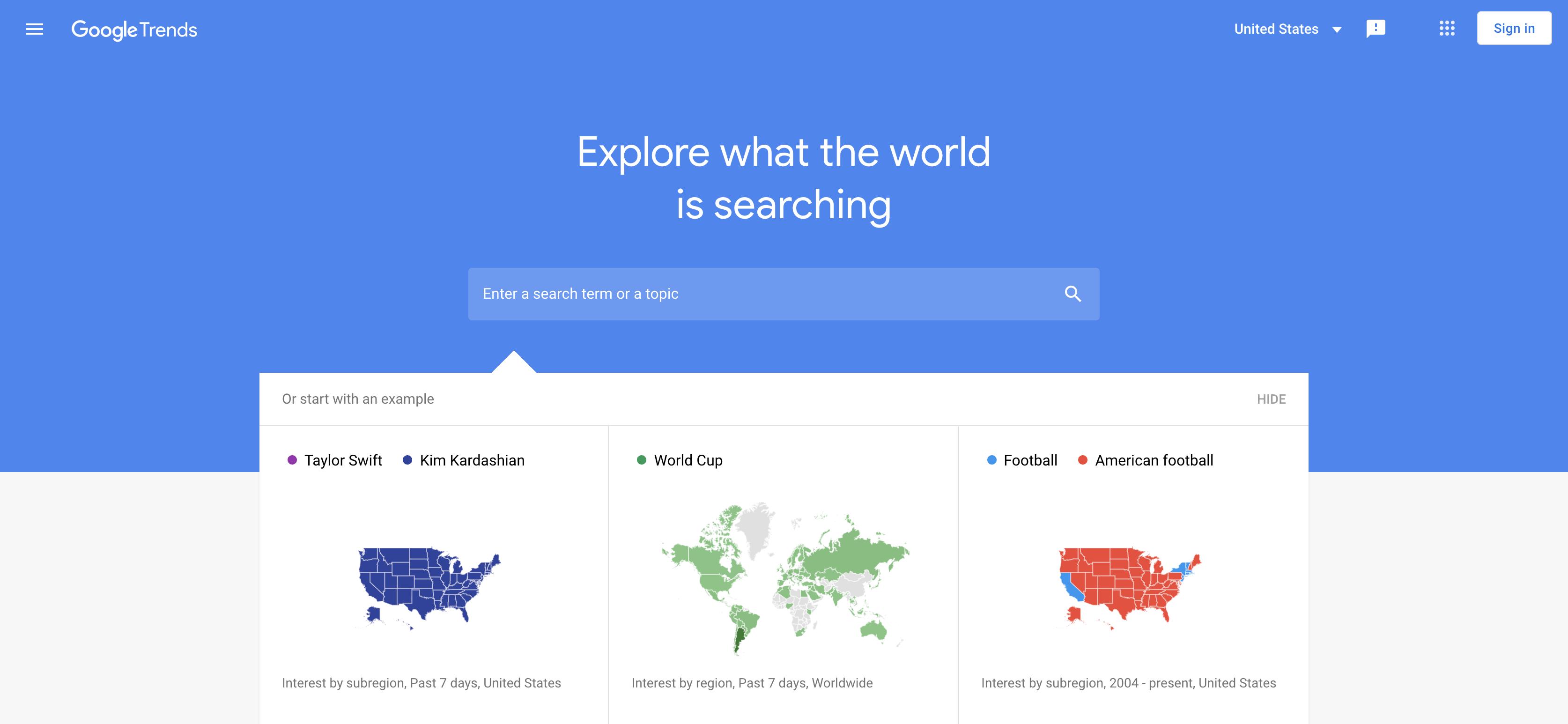 Google Trends homepage screenshot