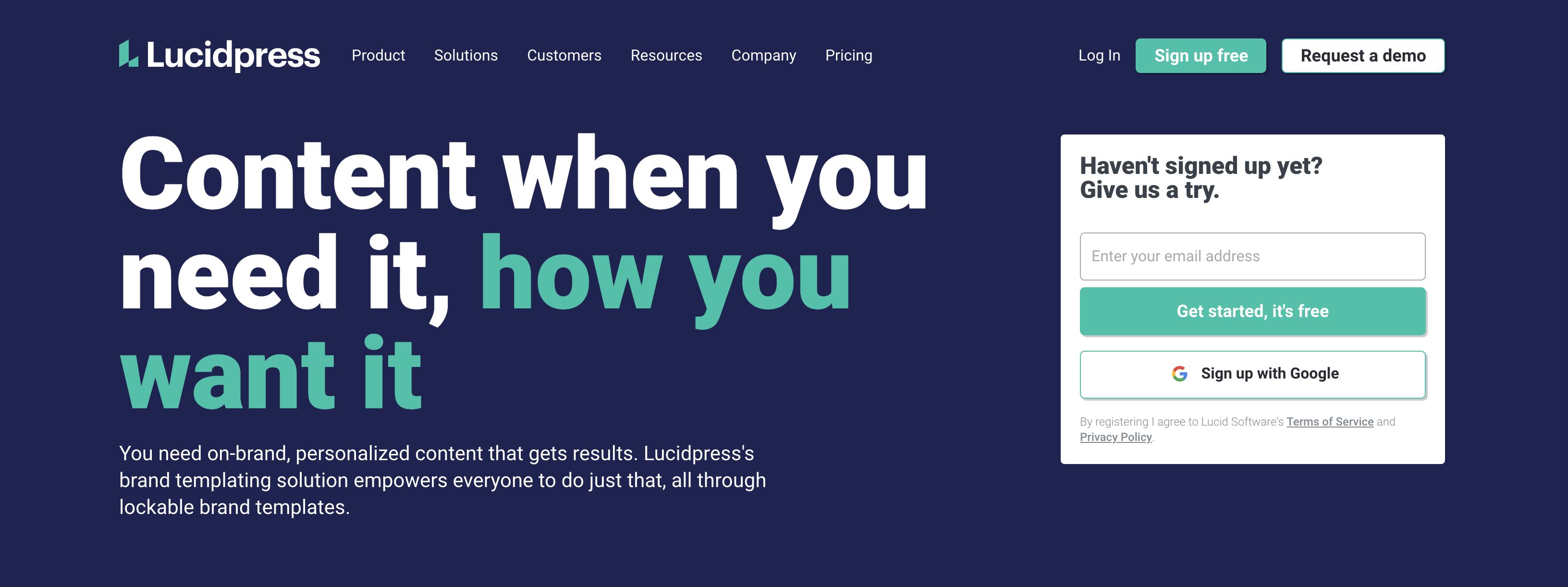 Lucidpress homepage screenshot