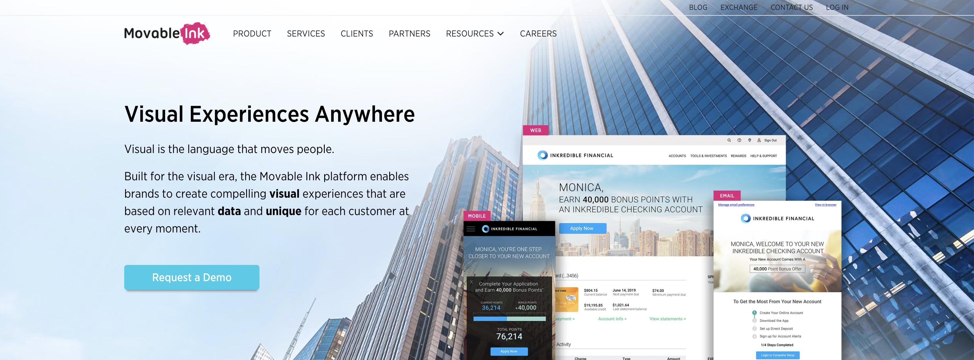 Movable Ink homepage screenshot