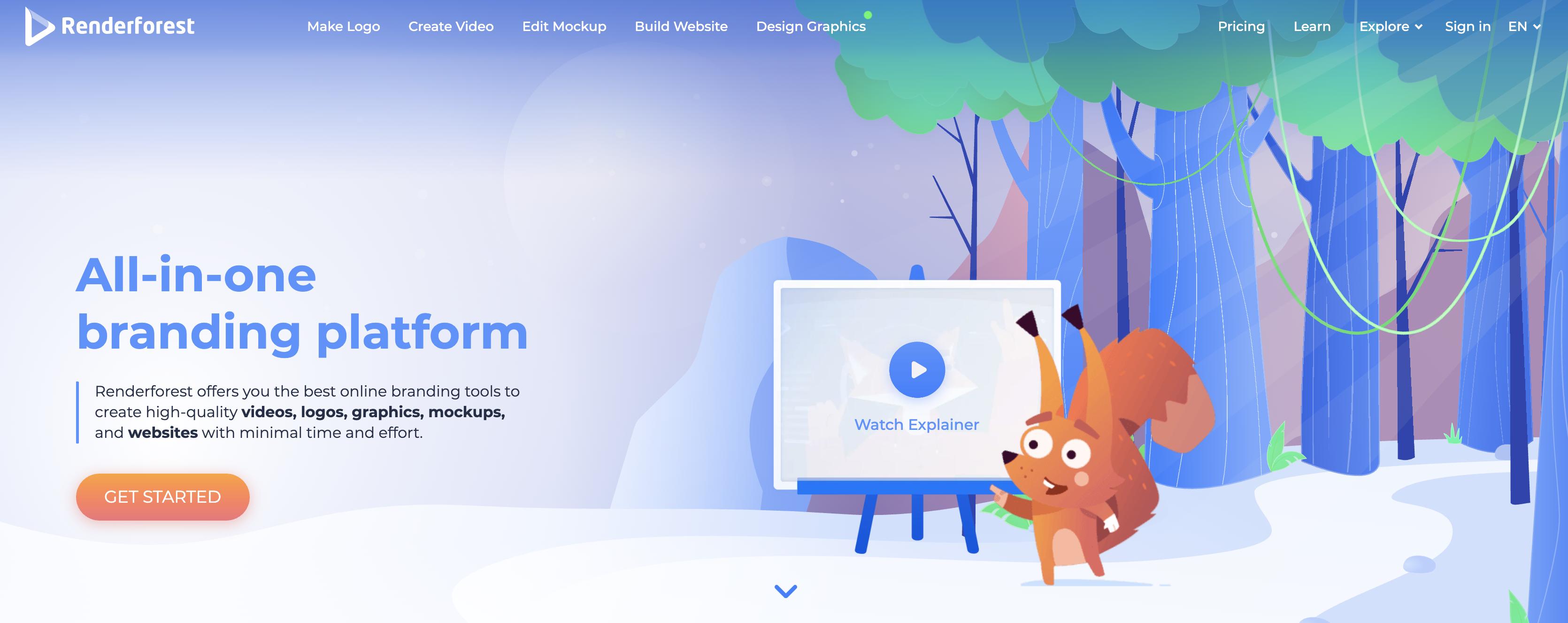 Renderforest homepage screenshot
