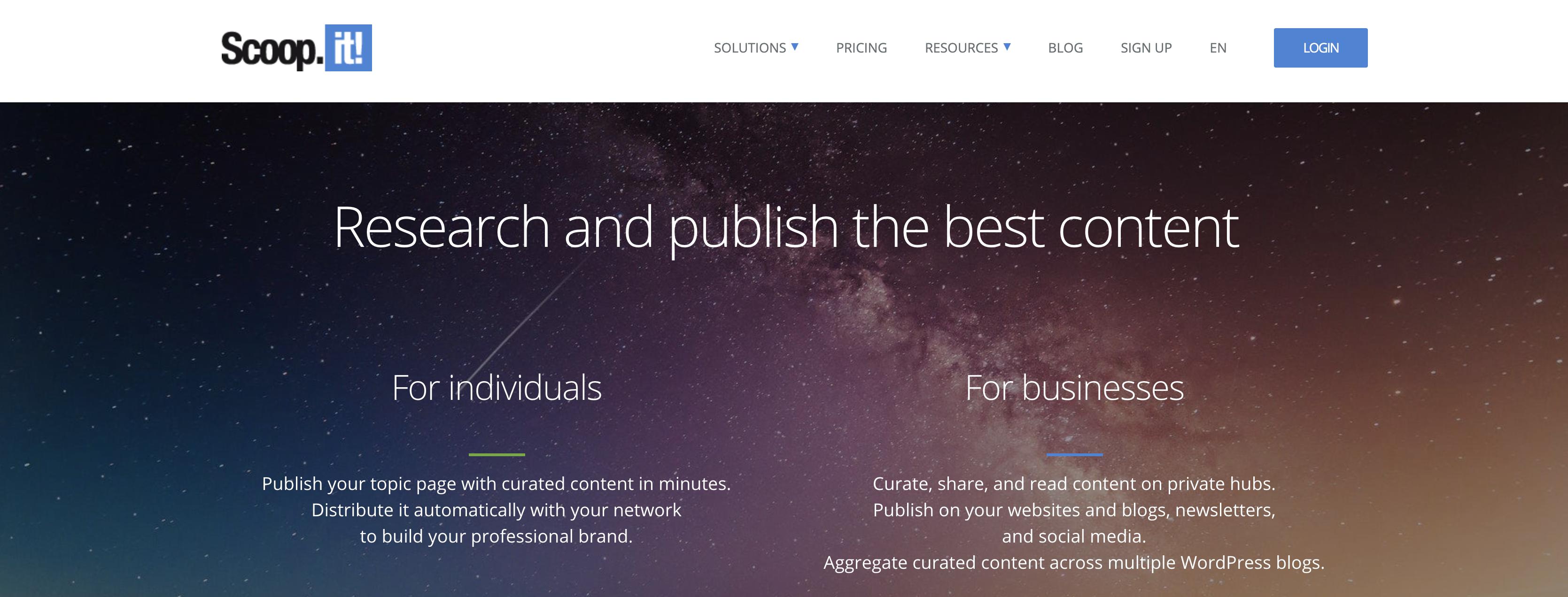 Scoop.it homepage screenshot