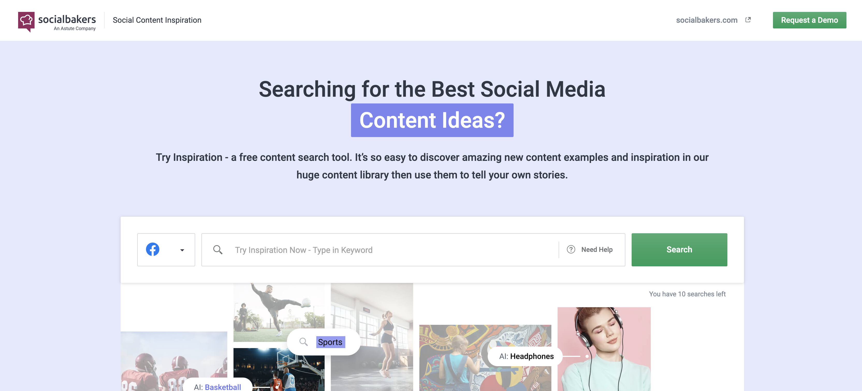 Socialbakers homepage screenshot
