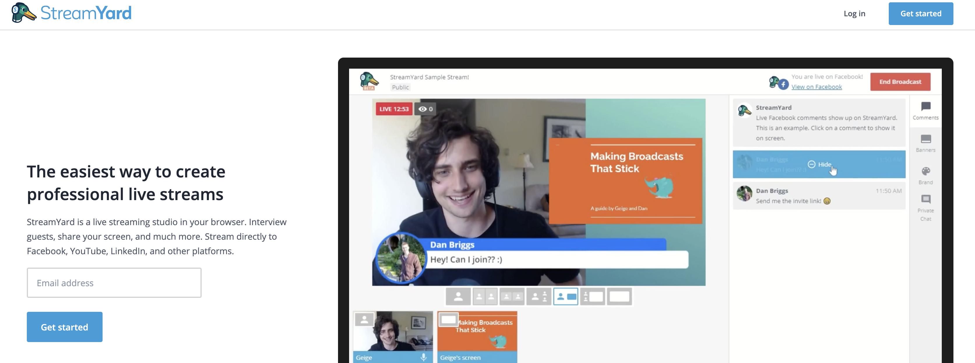 StreamYard homepage screenshot