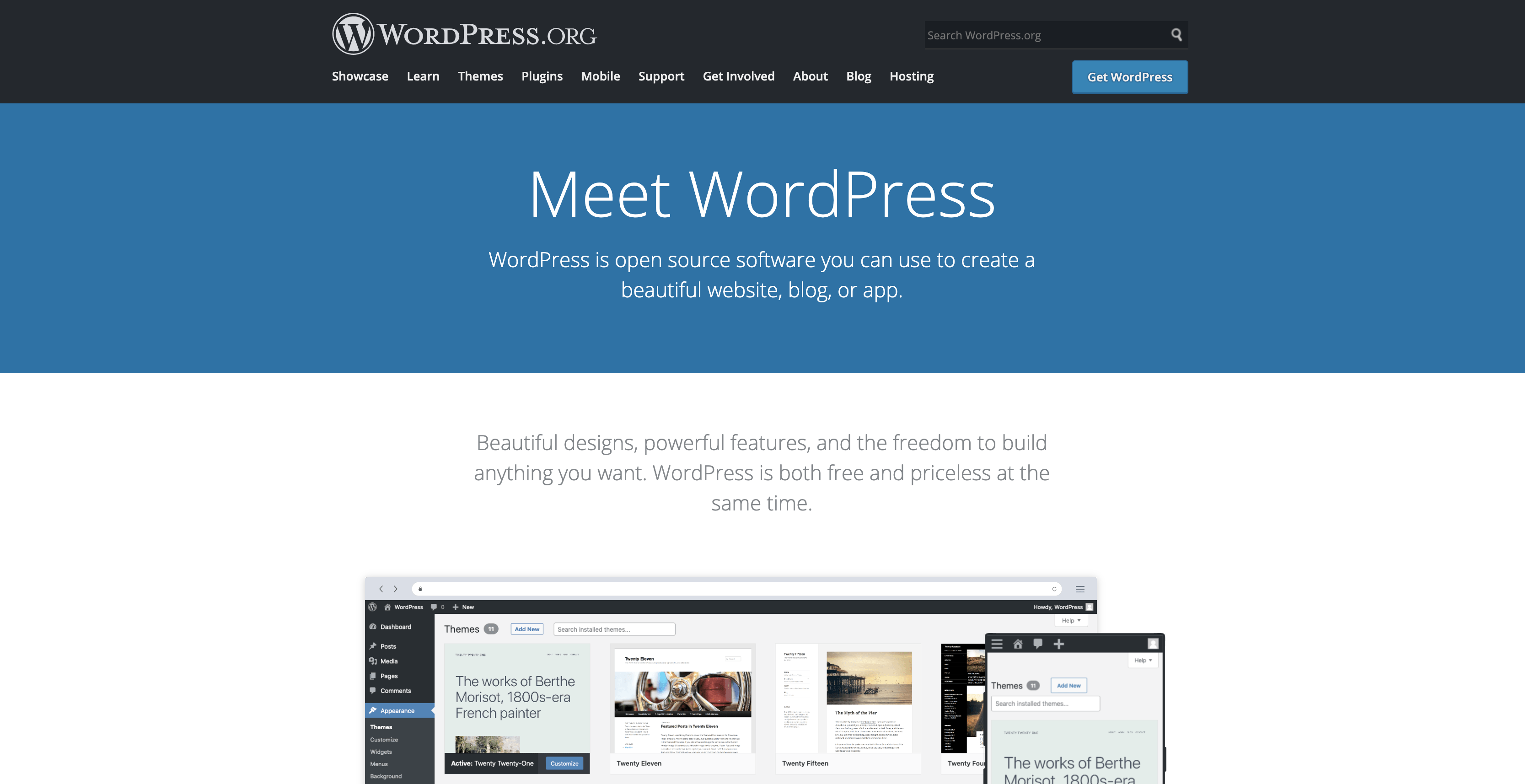 WordPress homepage screenshot