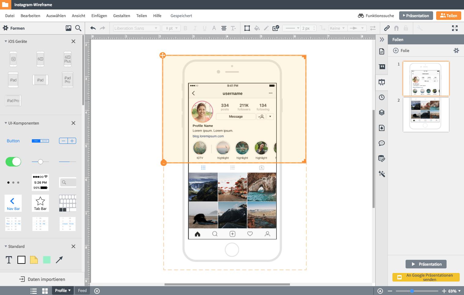 Wireframe online App
