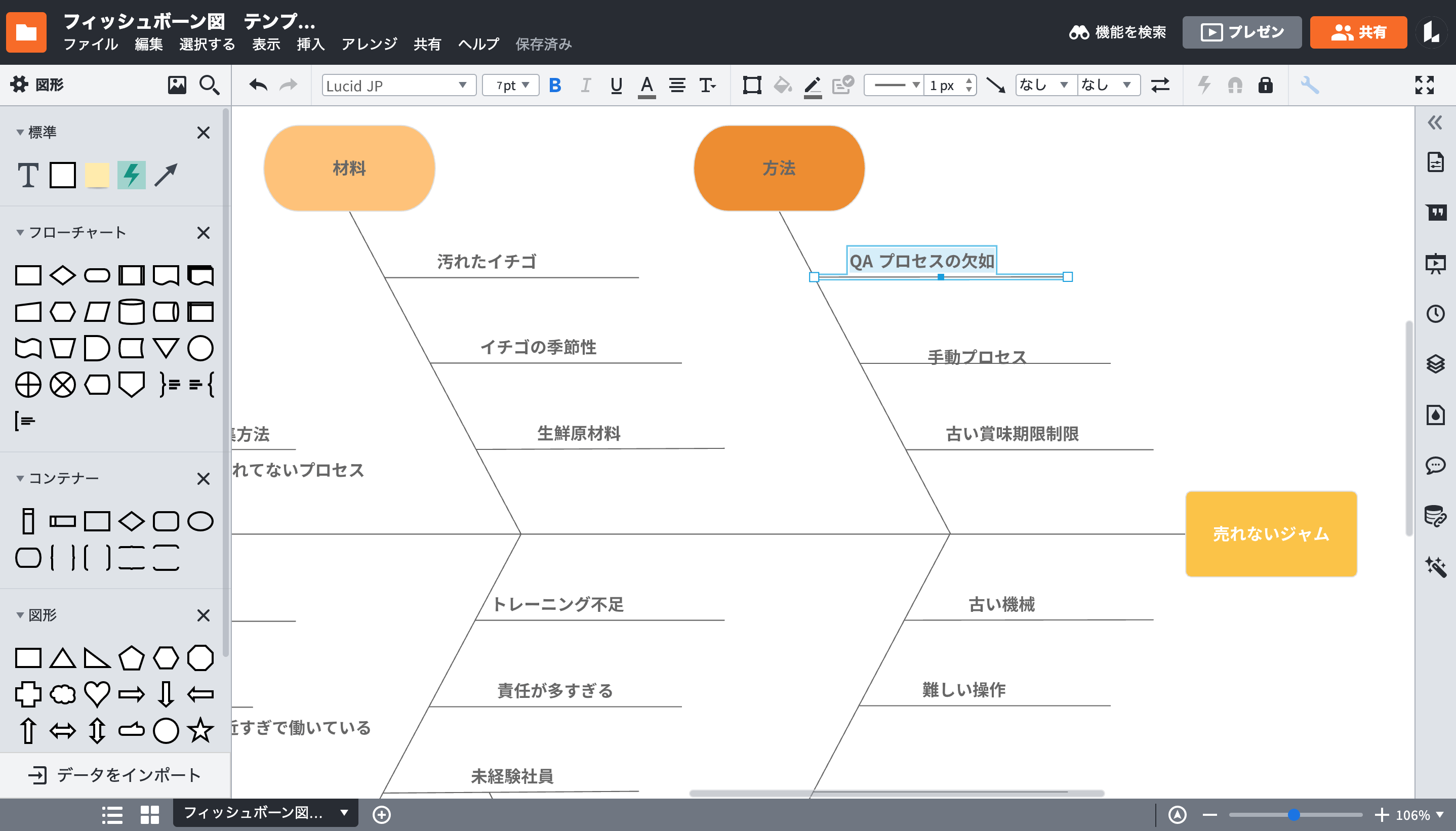 問題原因の解決に繋がるフィッシュボーン図 (特性要因図) 作成ツール