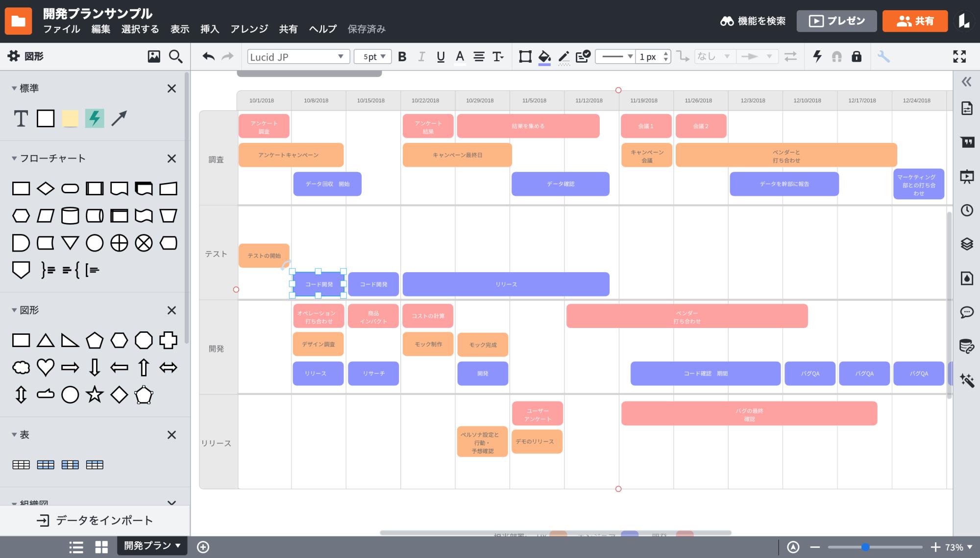 タイムスケジュール表の作成