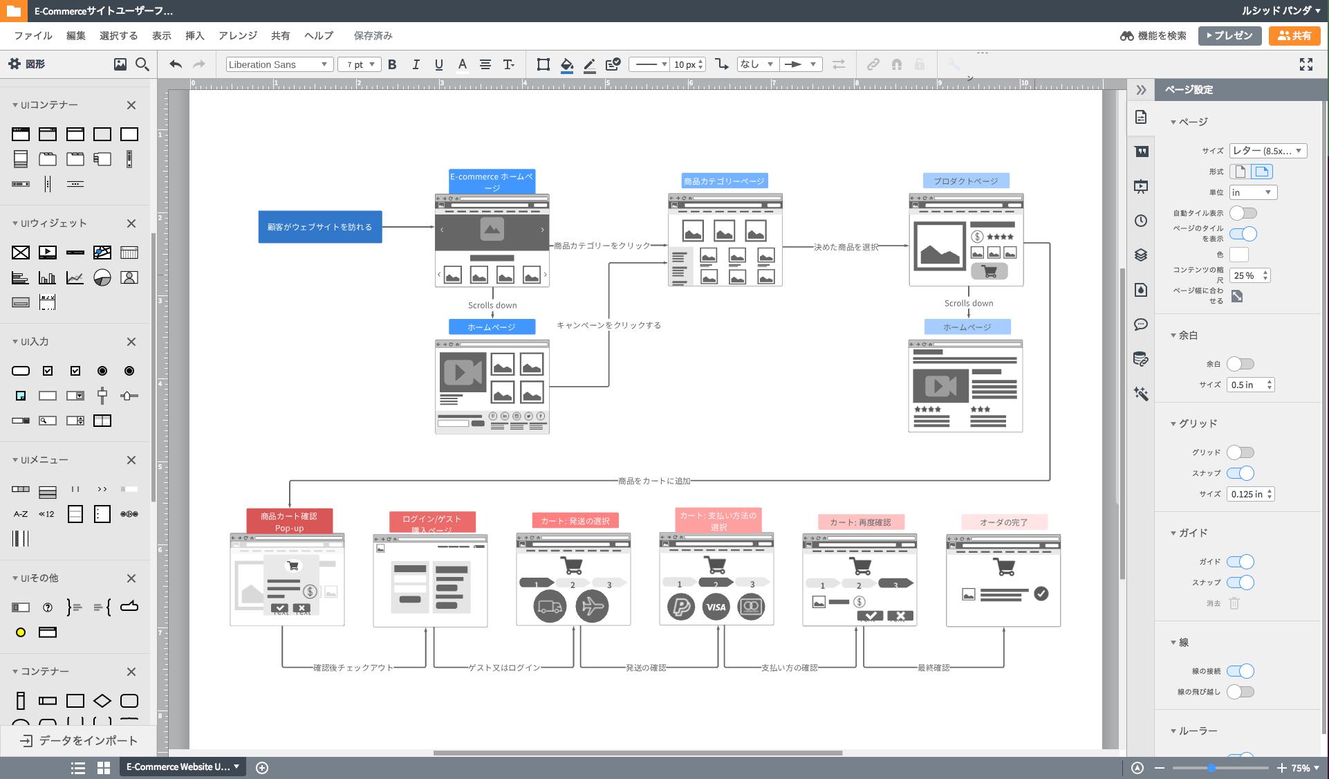 ワイヤーフレーム ツールでEcommerceサイトの設計