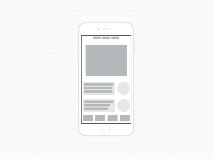 modèle de wireframe pour application mobile