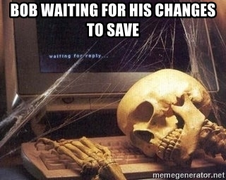 Bob waiting for his changes to save